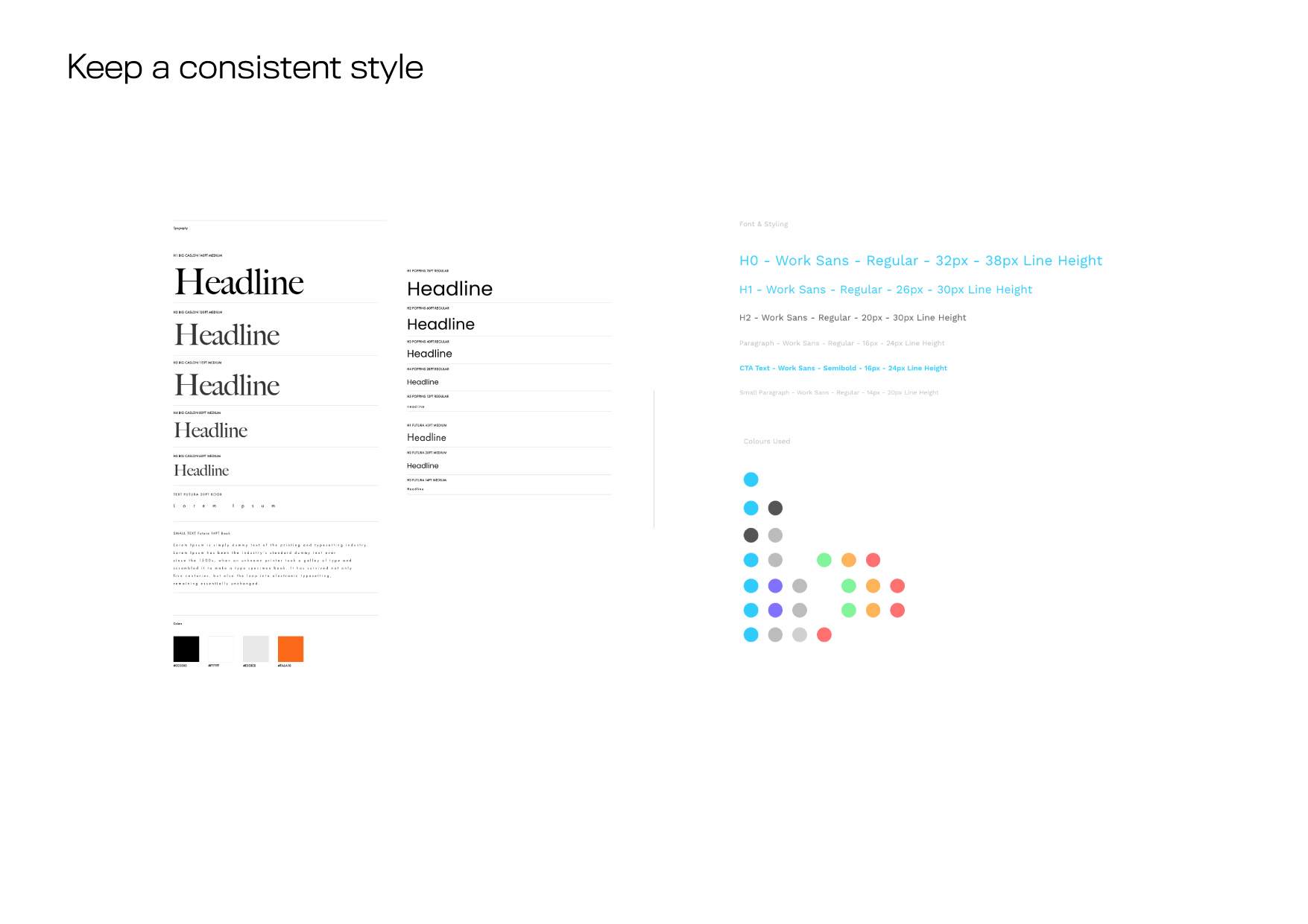 The web design to keep the style consistent